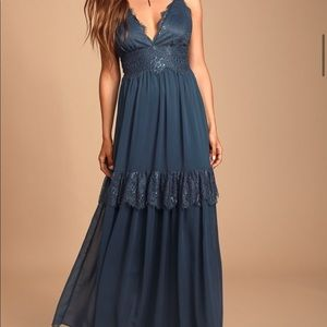 navy lace maxi prom dress